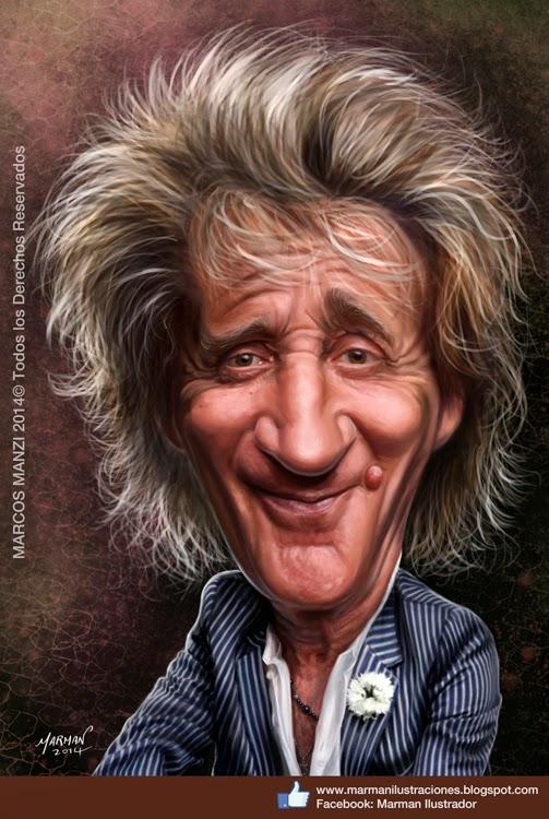 Rod Stewart caricatura